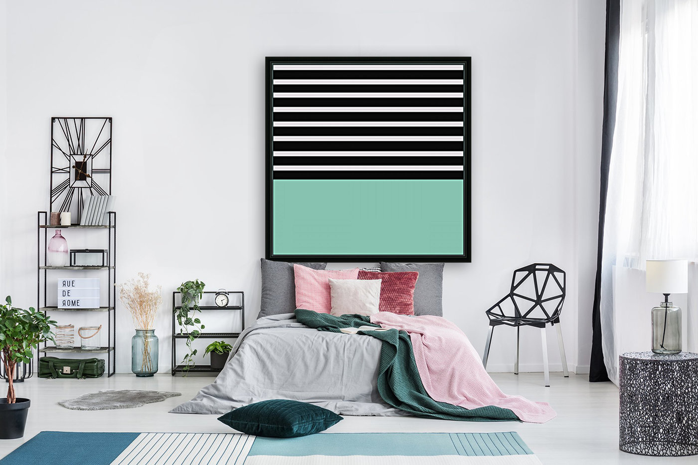 Black & White Stripes with Aquamarine Patch  Art