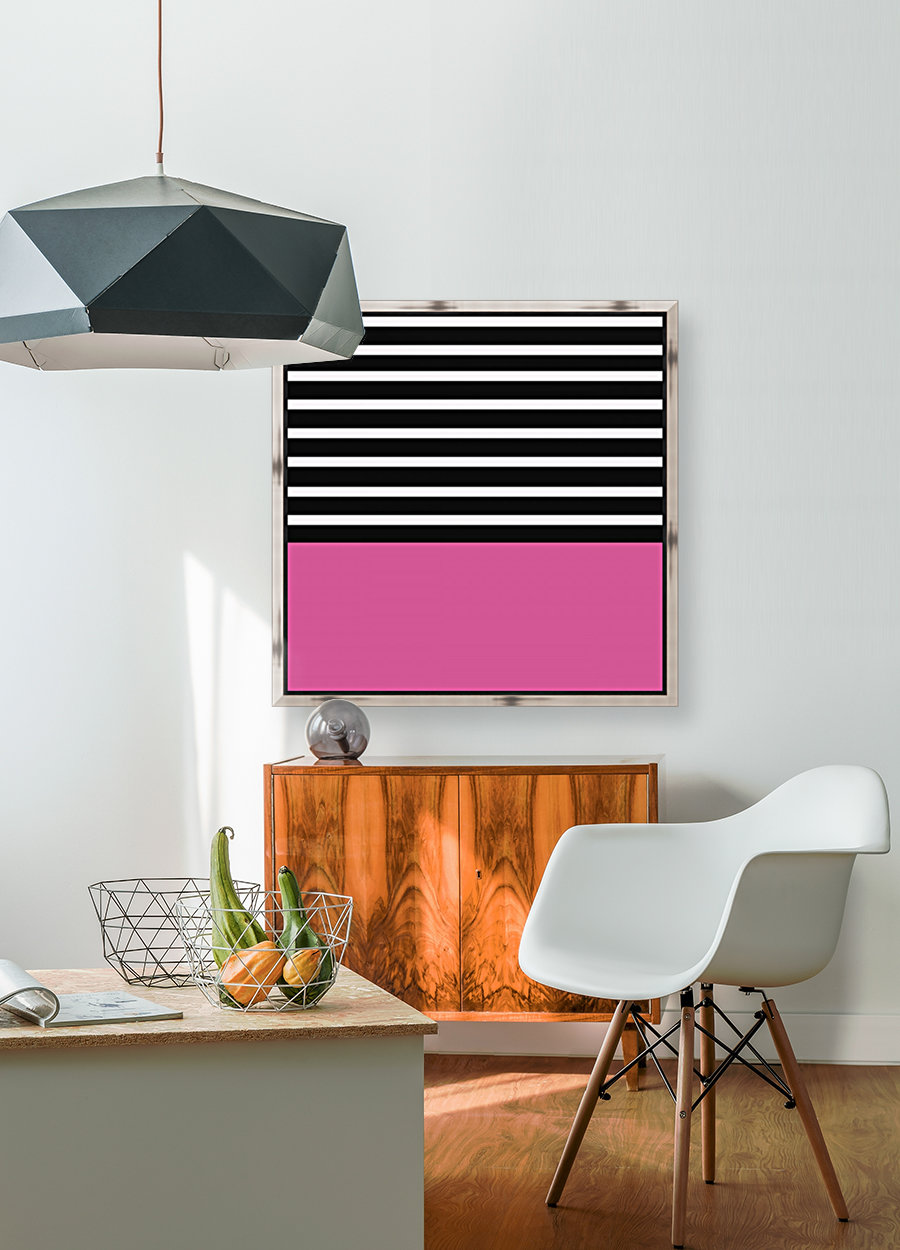 Black & White Stripes with Cranberry Patch  Art