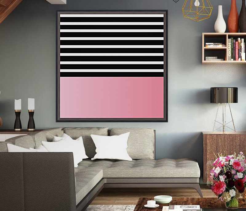 Black & White Stripes with Pink Gradient Patch  Art