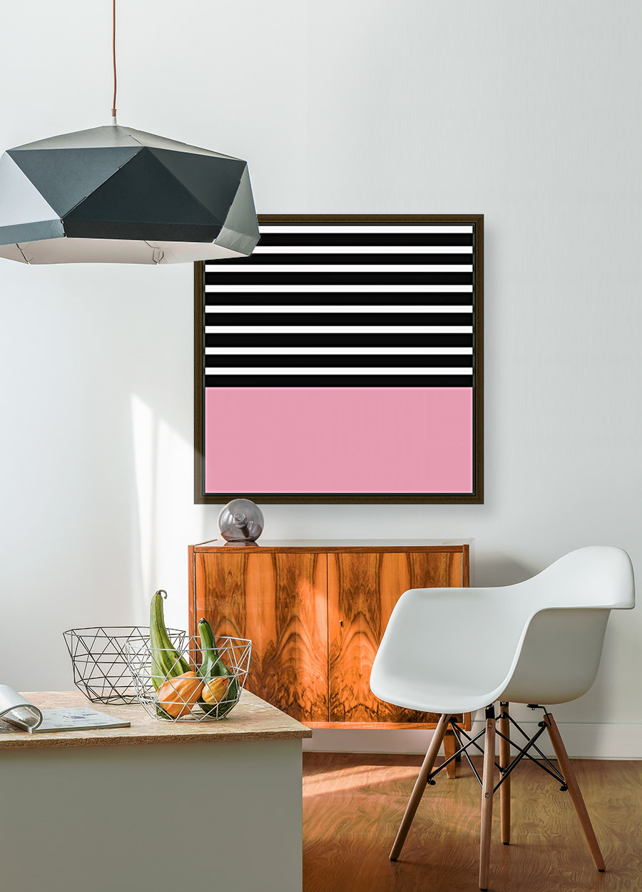 Black & White Stripes with Pacific Rose Patch  Art