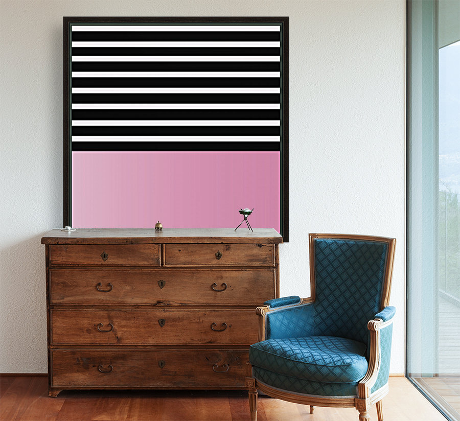 Black & White Stripes with Baby Pink Patch  Art