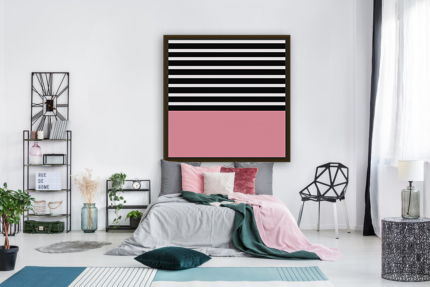 Black & White Stripes with Cherry Patch  Art