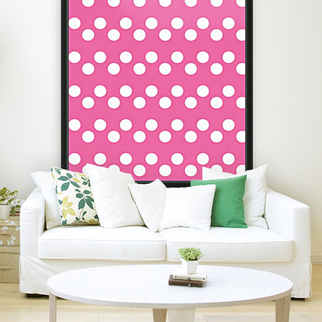 HOT PINK Polka Dots  Art