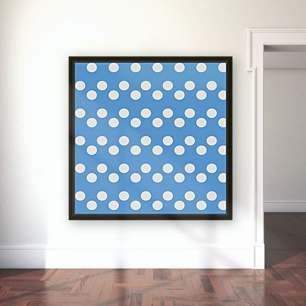 CORNFLOWER Polka Dots with Floating Frame
