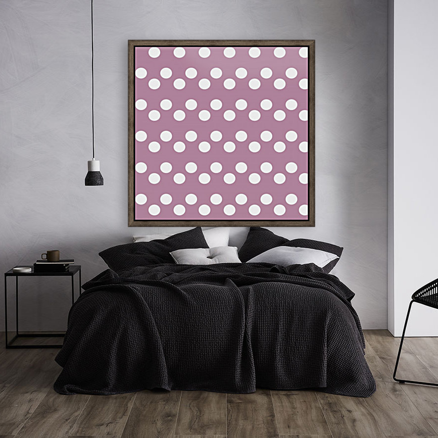 DARK MAUVE Polka Dots with Floating Frame