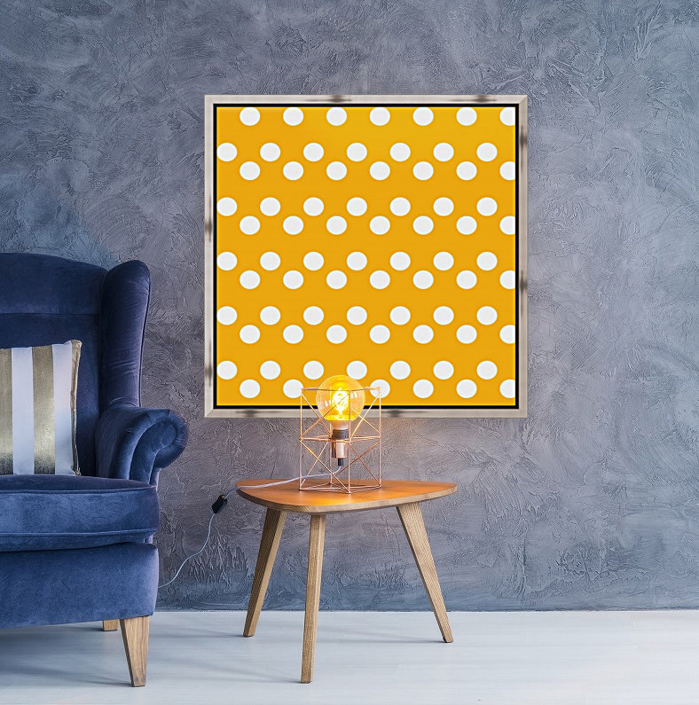 SUNFLOWER Polka Dots with Floating Frame