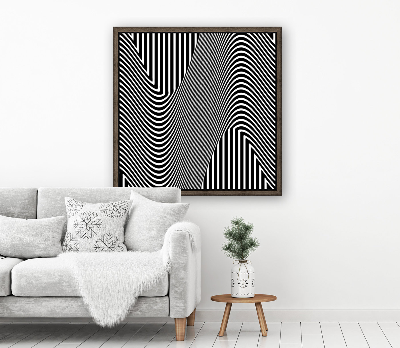 Black and White Abstract Geometric Design 1  Art