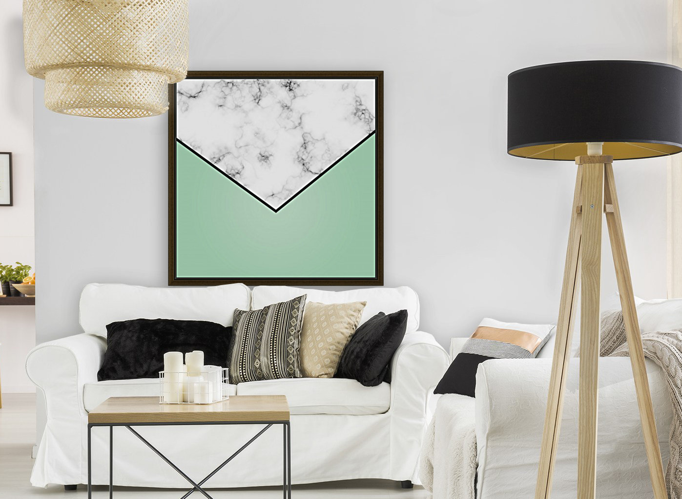 ABSTRACT GREEN PASTEL MODERN MARBLE  Art