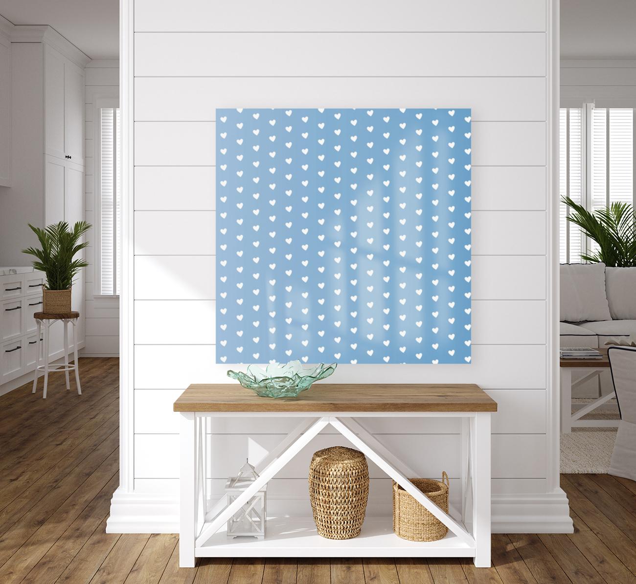 Blue Grey Heart Shape Pattern  Art