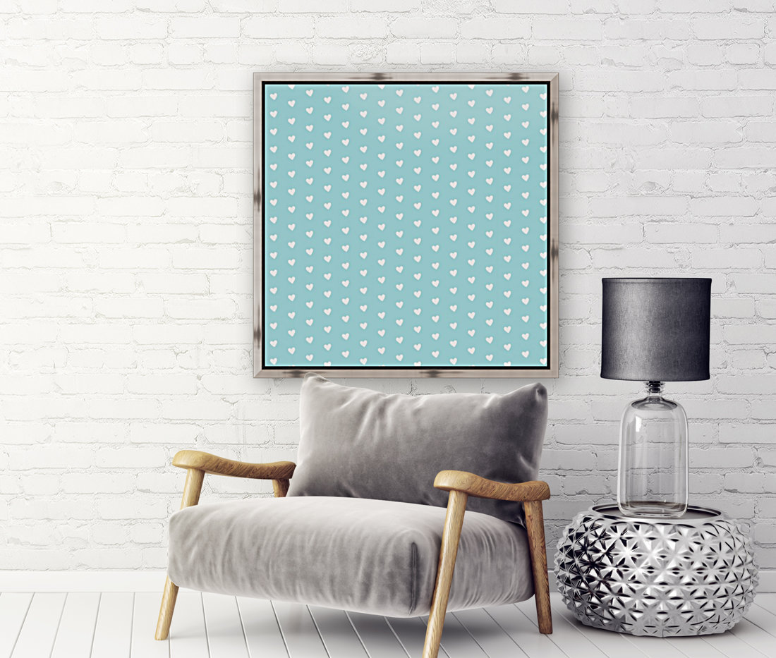 Light Blue Heart Shape Pattern with Floating Frame