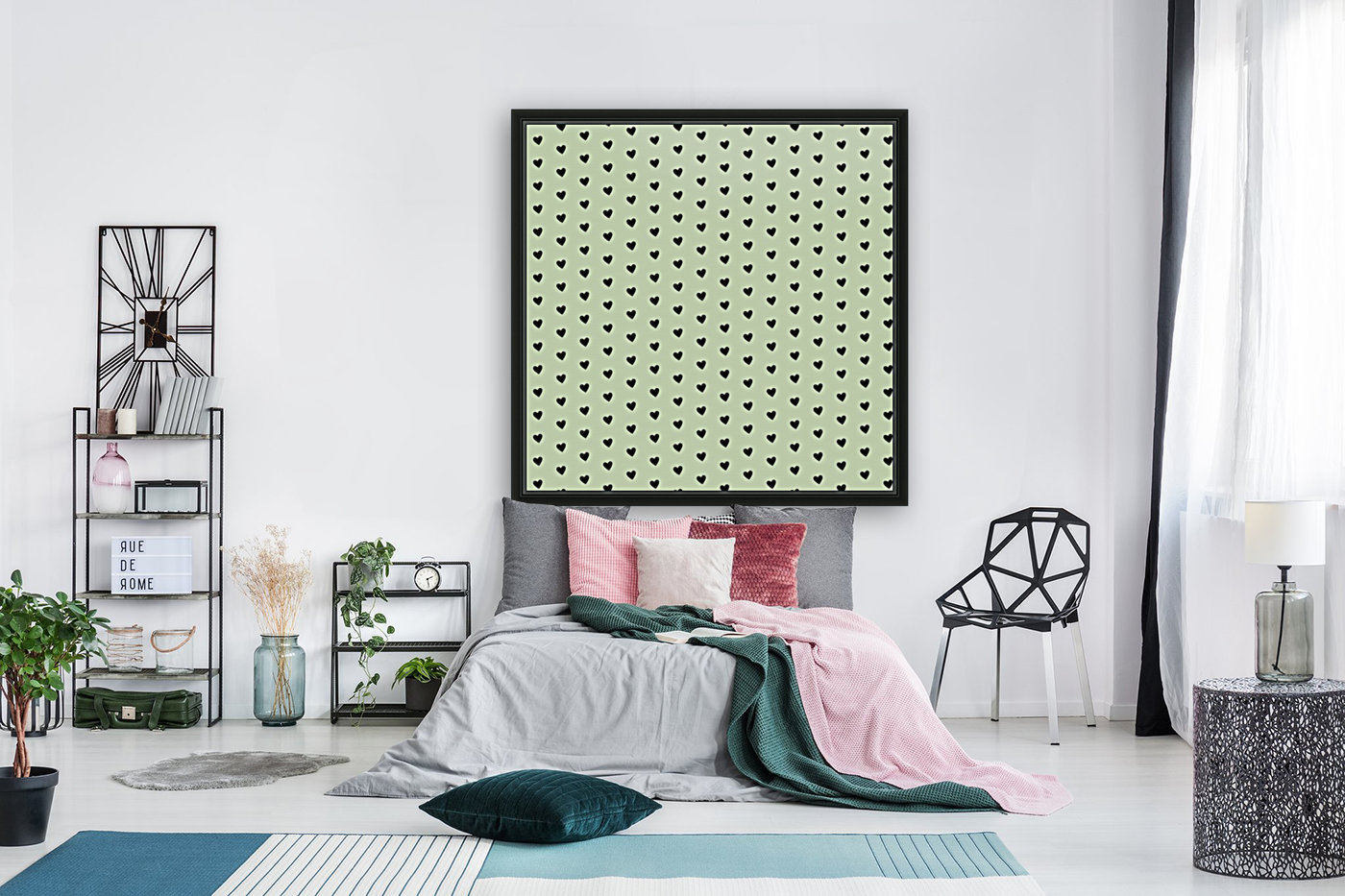 Mist Heart Shape Pattern with Floating Frame