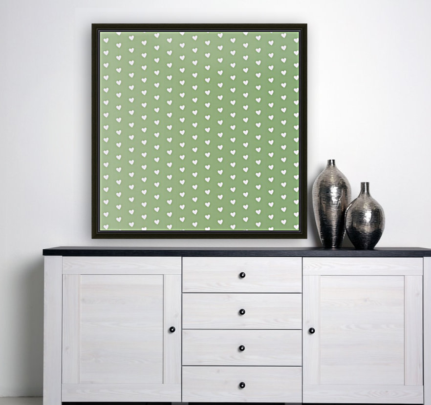 Green Blush Heart Shape Pattern with Floating Frame