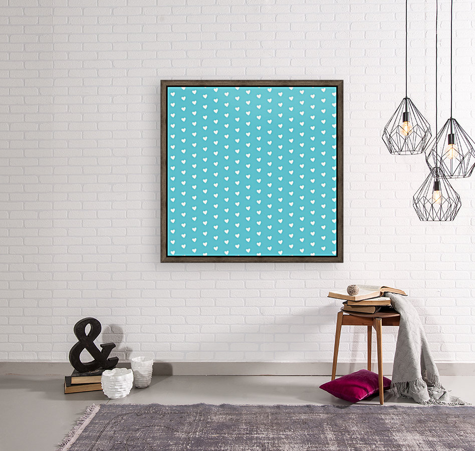 Sweet Light Blue Heart Shape Pattern  Art