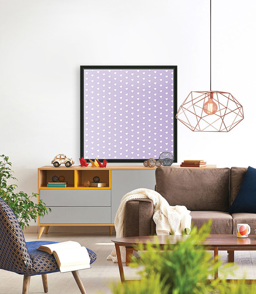 Spring Purple Heart Shape Pattern with Floating Frame