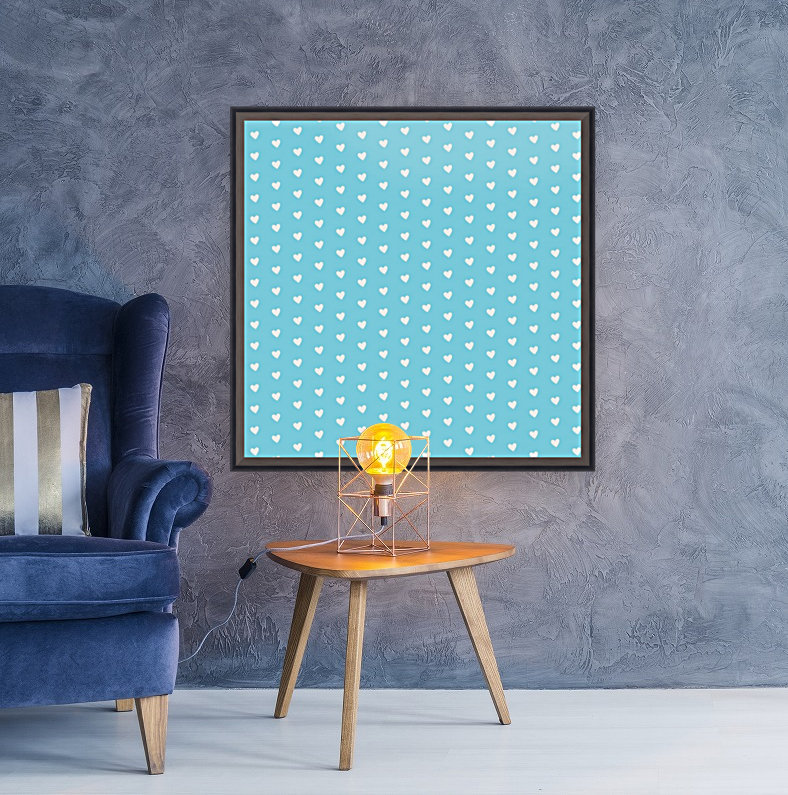 Sky Blue Heart Shape Pattern with Floating Frame