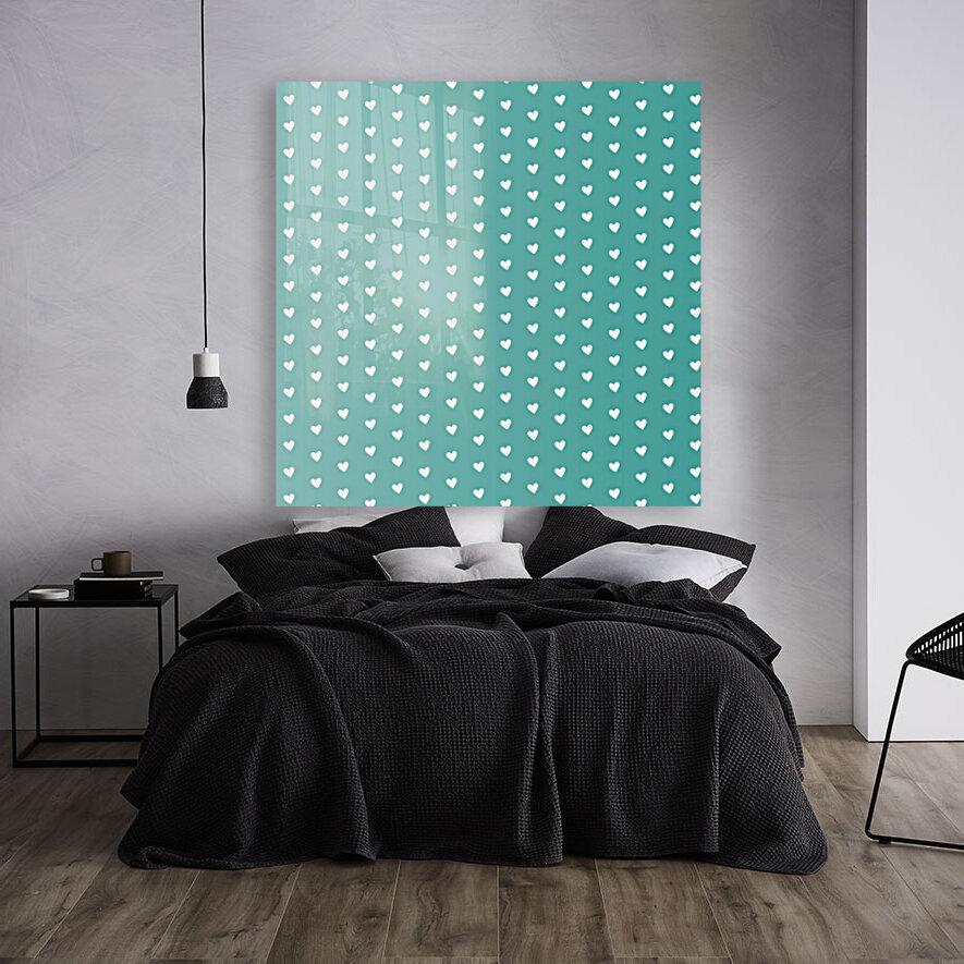 Teal Green Heart Shape Pattern  Art