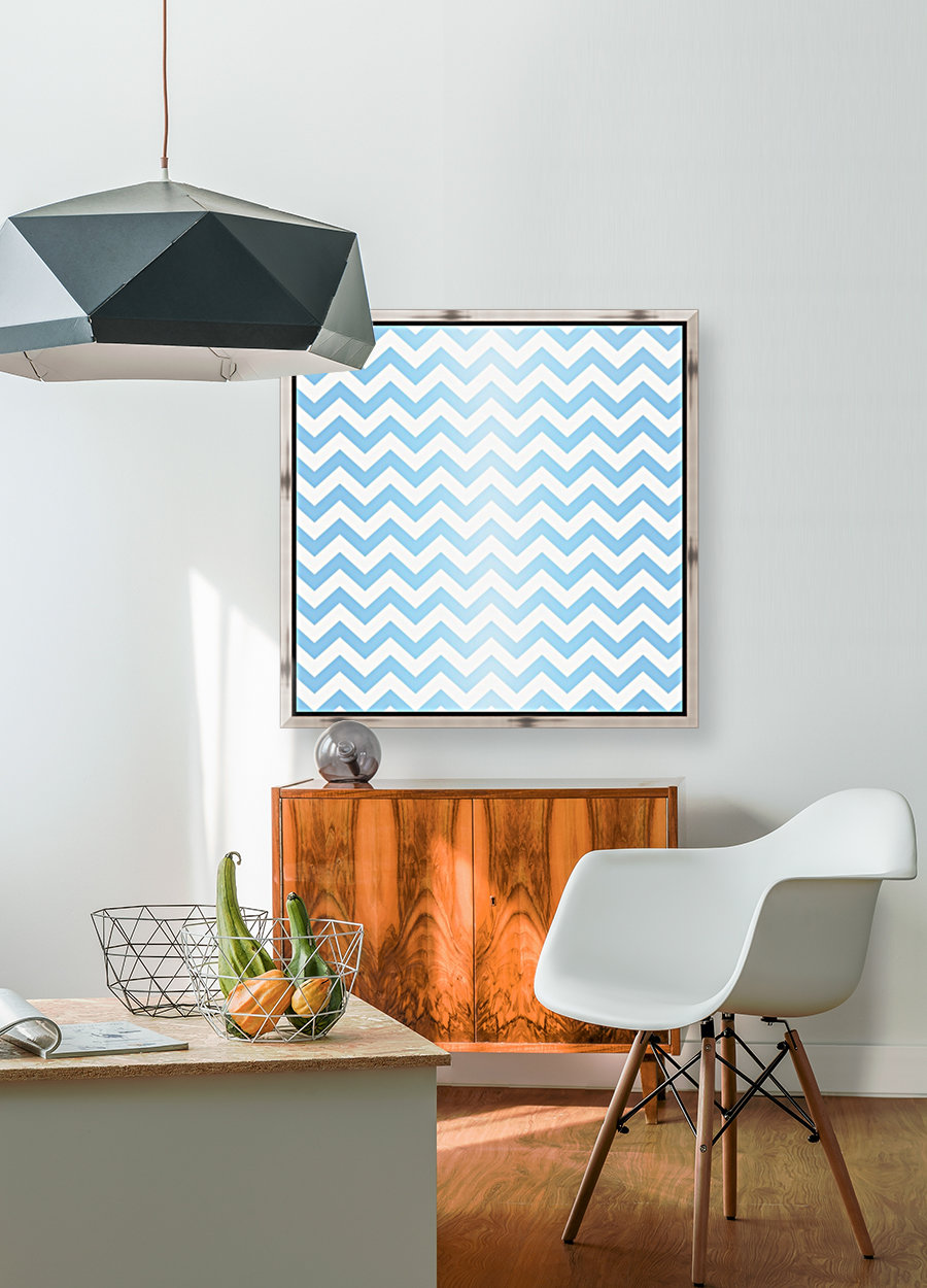 BLUE  PASTEL CHEVRON with Floating Frame