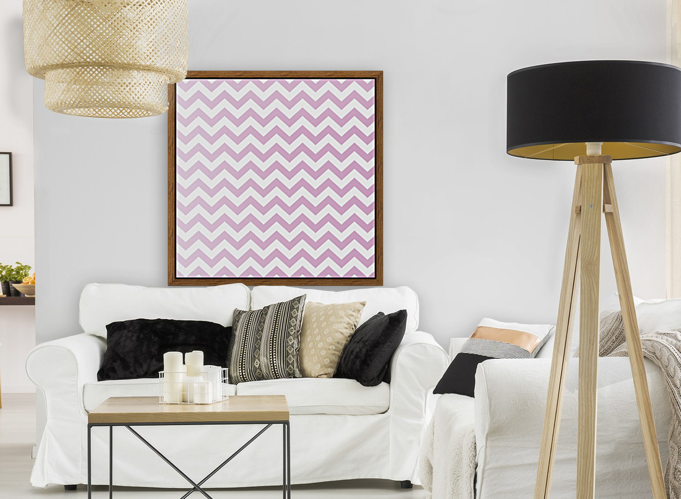 SPRING PINK CHEVRON with Floating Frame