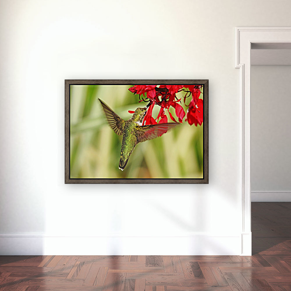 Golden Green Garden Jewel with Floating Frame