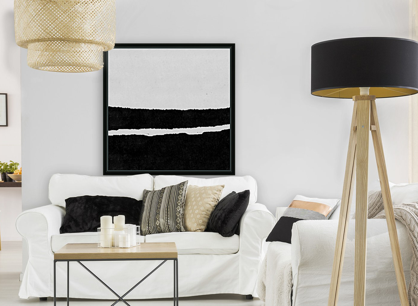 Black White Minimal Abstract Painting Nr.102 with Floating Frame