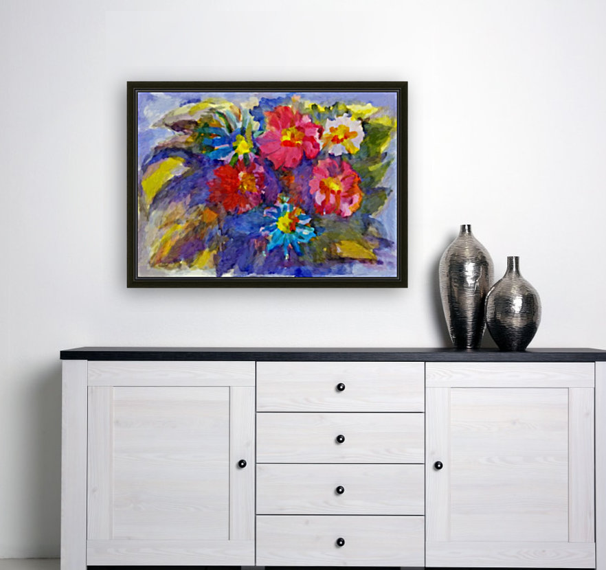 Vivid flowers in the garden  with Floating Frame