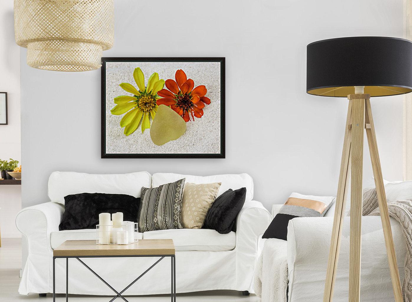 Pale yellow sea glass and zinnias  Art