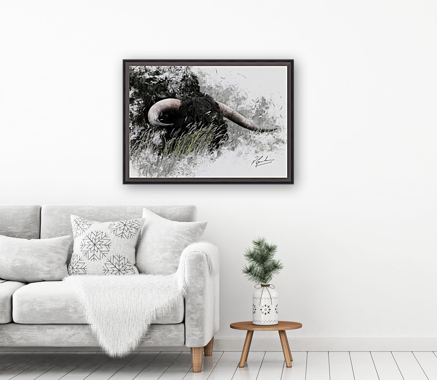 Bull in long grass with Floating Frame