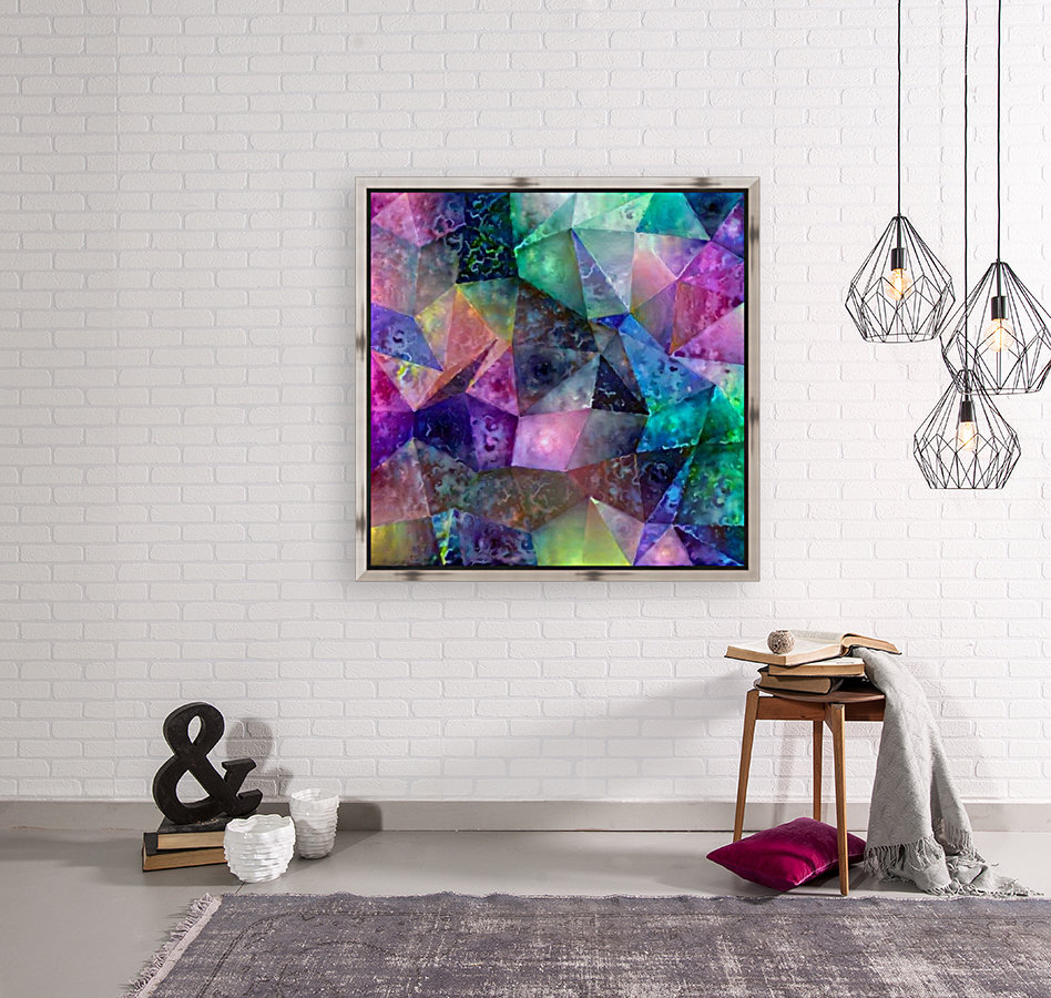 Vivid Abstract Geometric Figures with Floating Frame