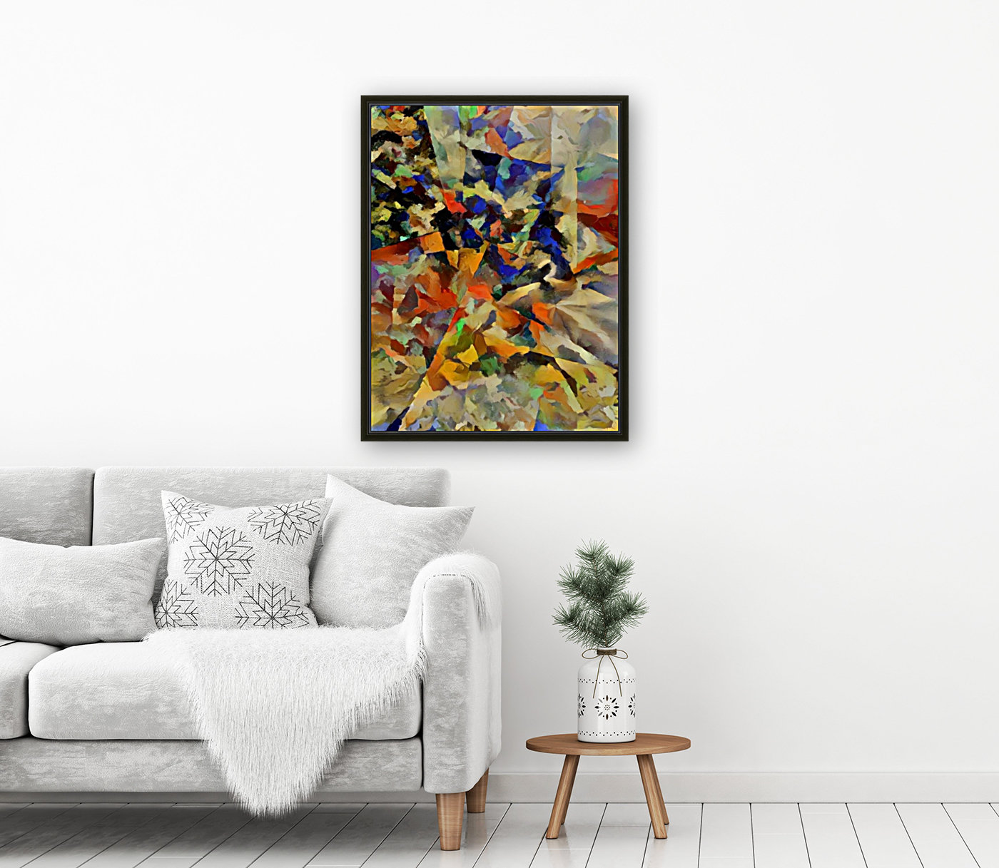 Abstract Painting with Geometric Figures  Art