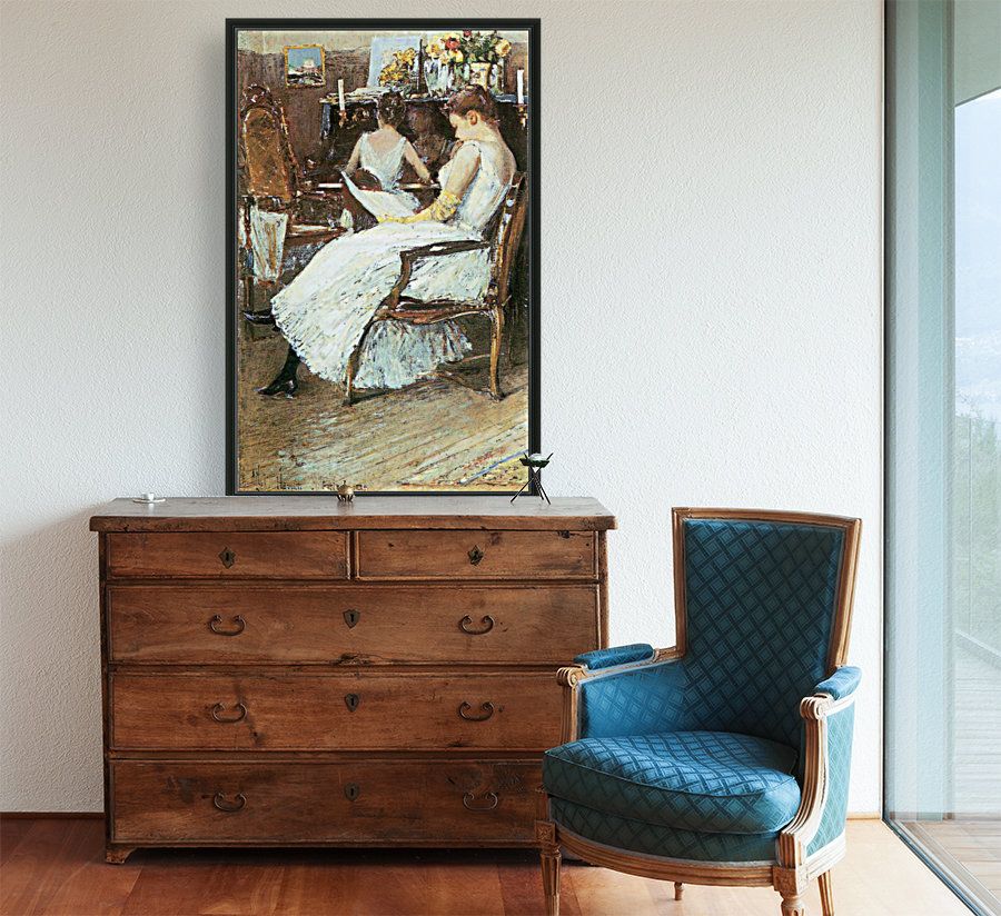Mrs. Hassam and her sister by Hassam  Art