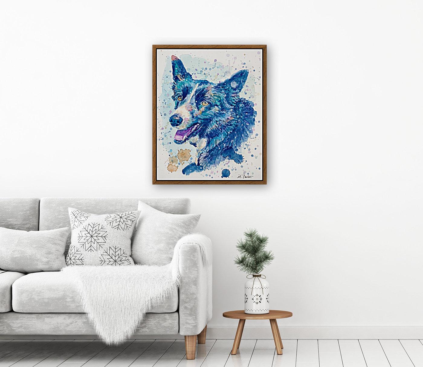 Border Collie Dog - Portrait of Habbey  Art