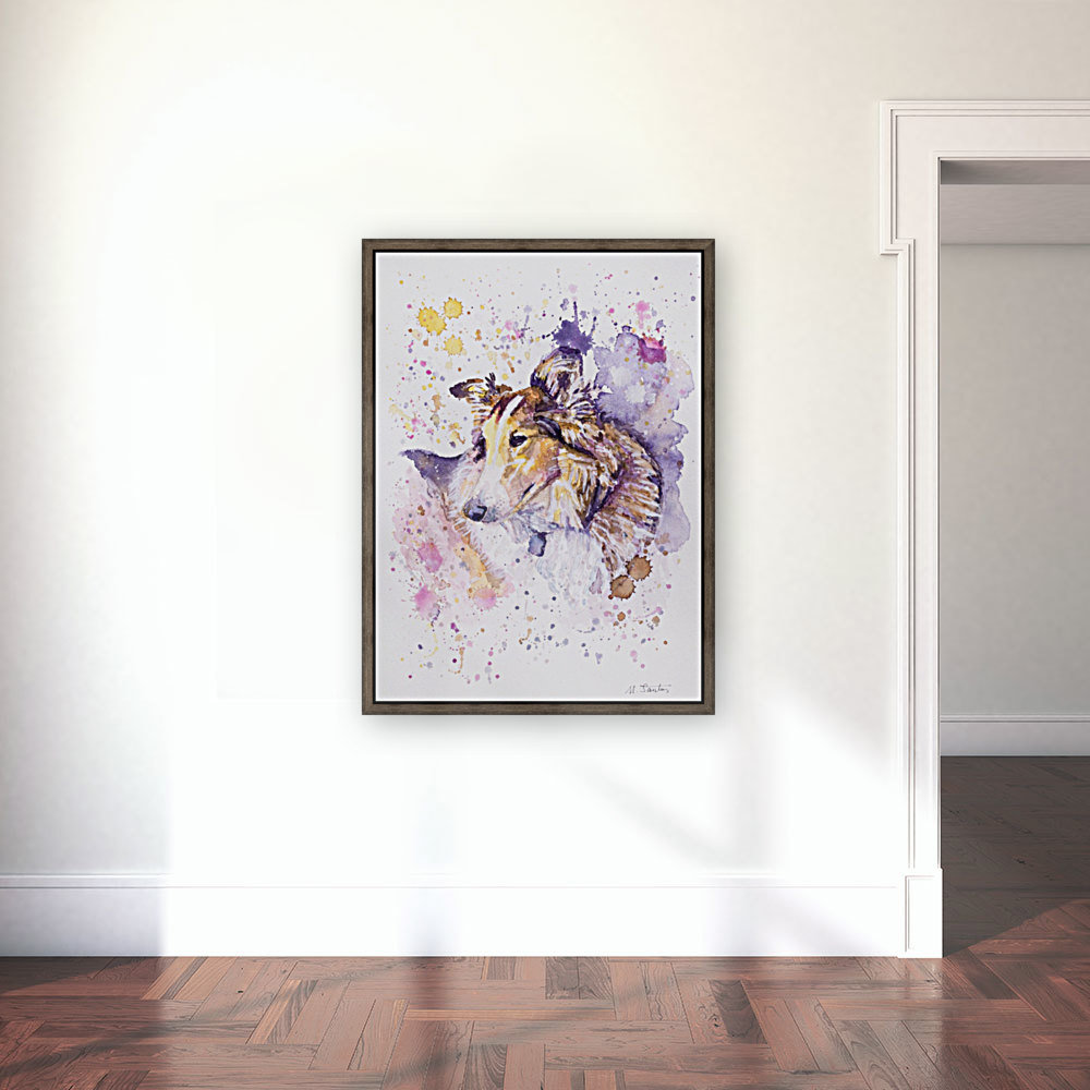 Sheltie Dog - Portrait of Aria with Floating Frame