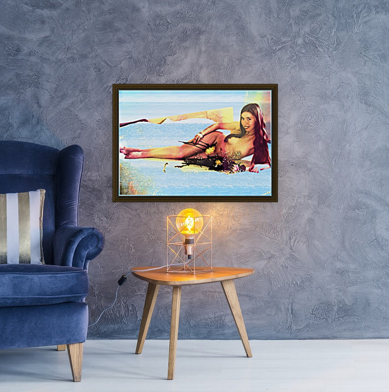 a mermaid in her home with Floating Frame