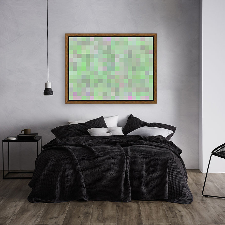 geometric square pixel pattern abstract in green and pink  Art