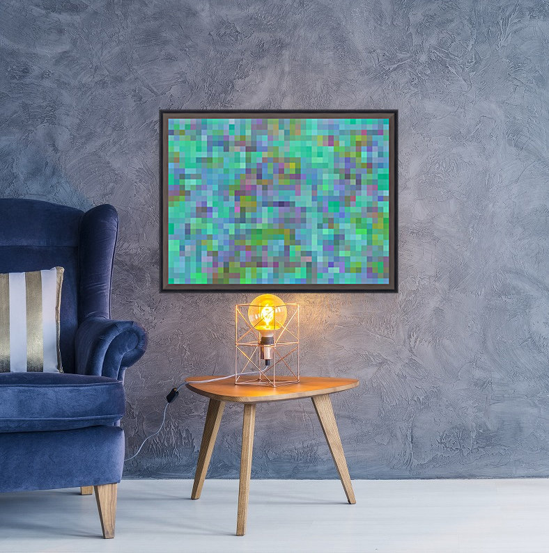 geometric square pixel pattern abstract in green blue pink  Art