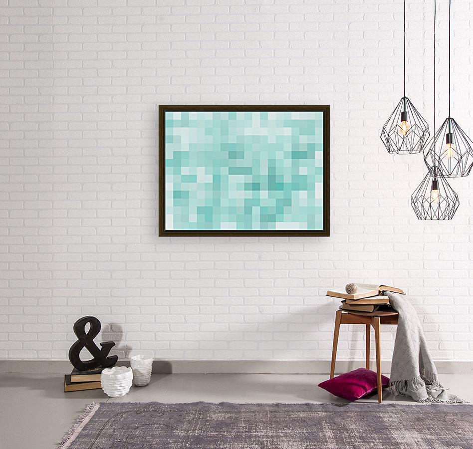 geometric square pixel pattern abstract in green  Art