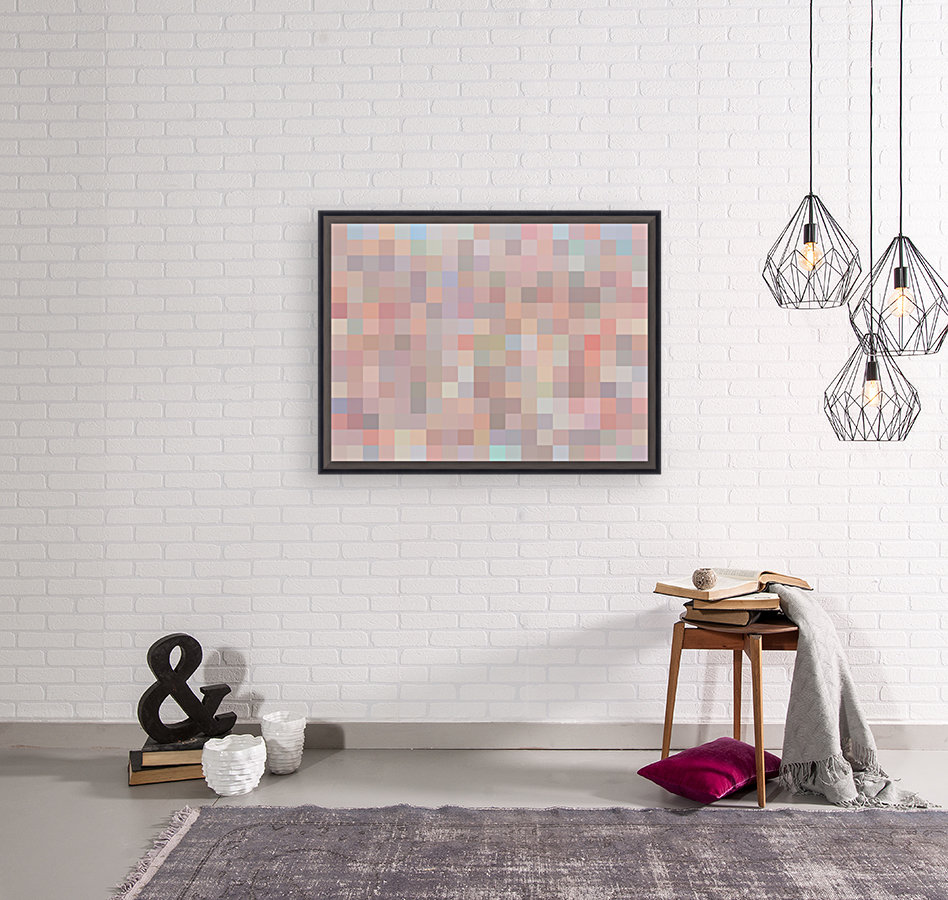 geometric square pixel pattern abstract in pink and blue  Art