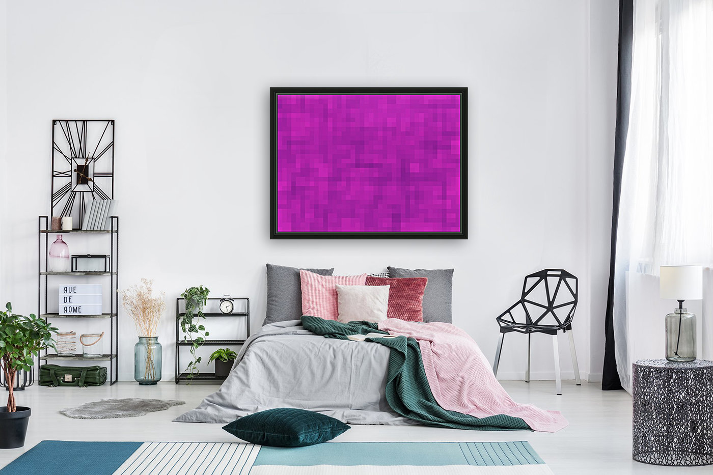 geometric square pixel pattern abstract in pink and purple  Art