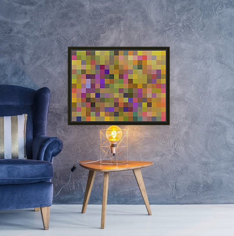 geometric square pixel pattern abstract in yellow green purple  Art