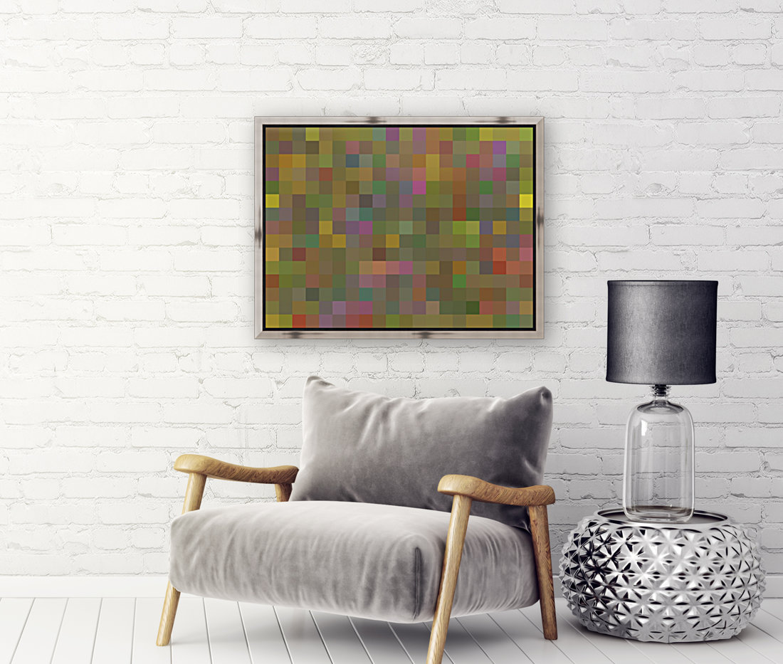geometric square pixel pattern abstract in green pink yellow  Art