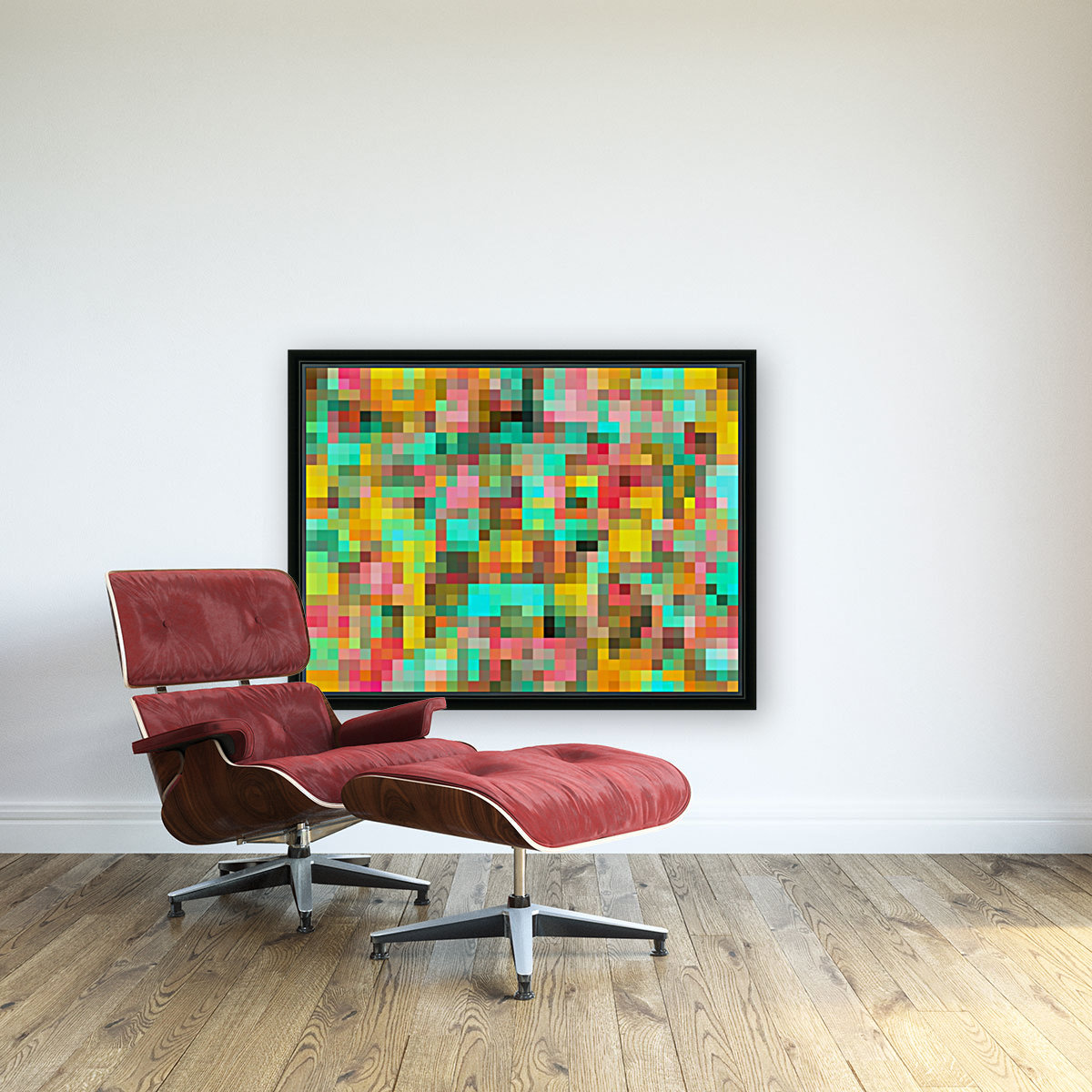 geometric square pixel pattern abstract in green yellow pink  Art