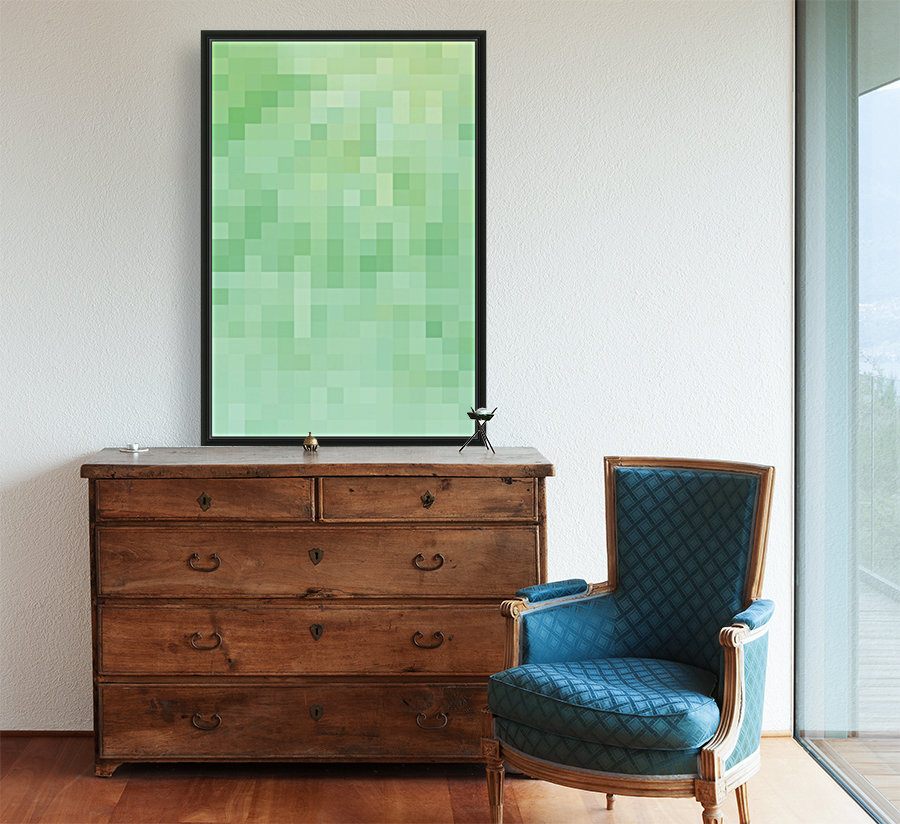 Abstract Pixel Picture - Green shades   Art