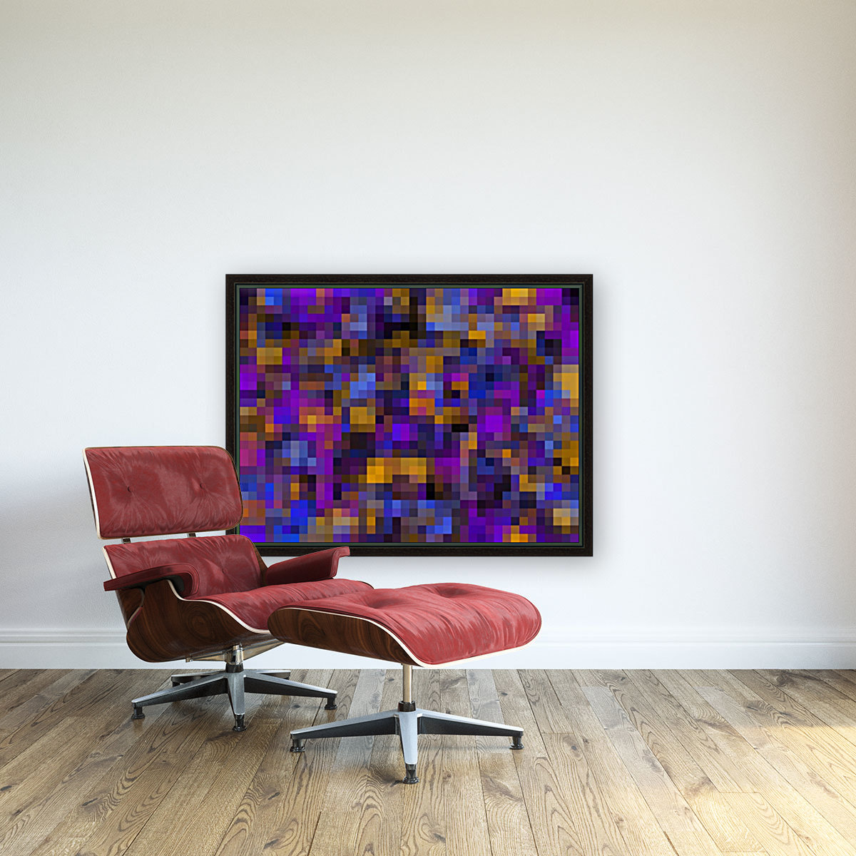 geometric square pixel pattern abstract background in blue purple yellow  Art