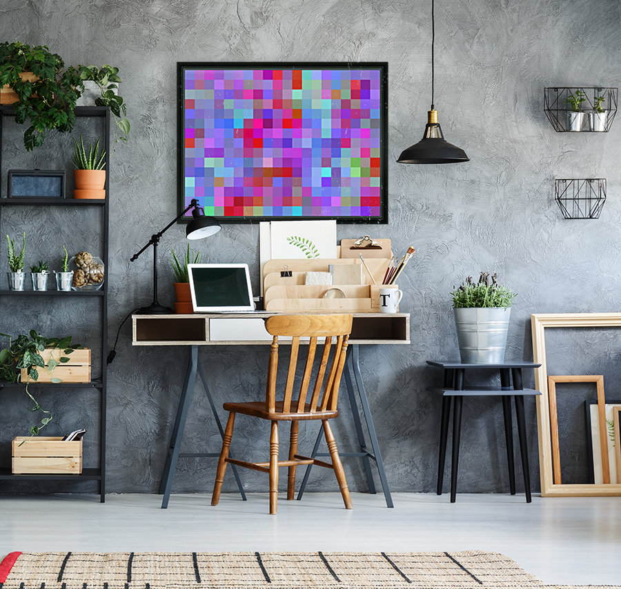 geometric square pixel pattern abstract background in pink blue purple  Art