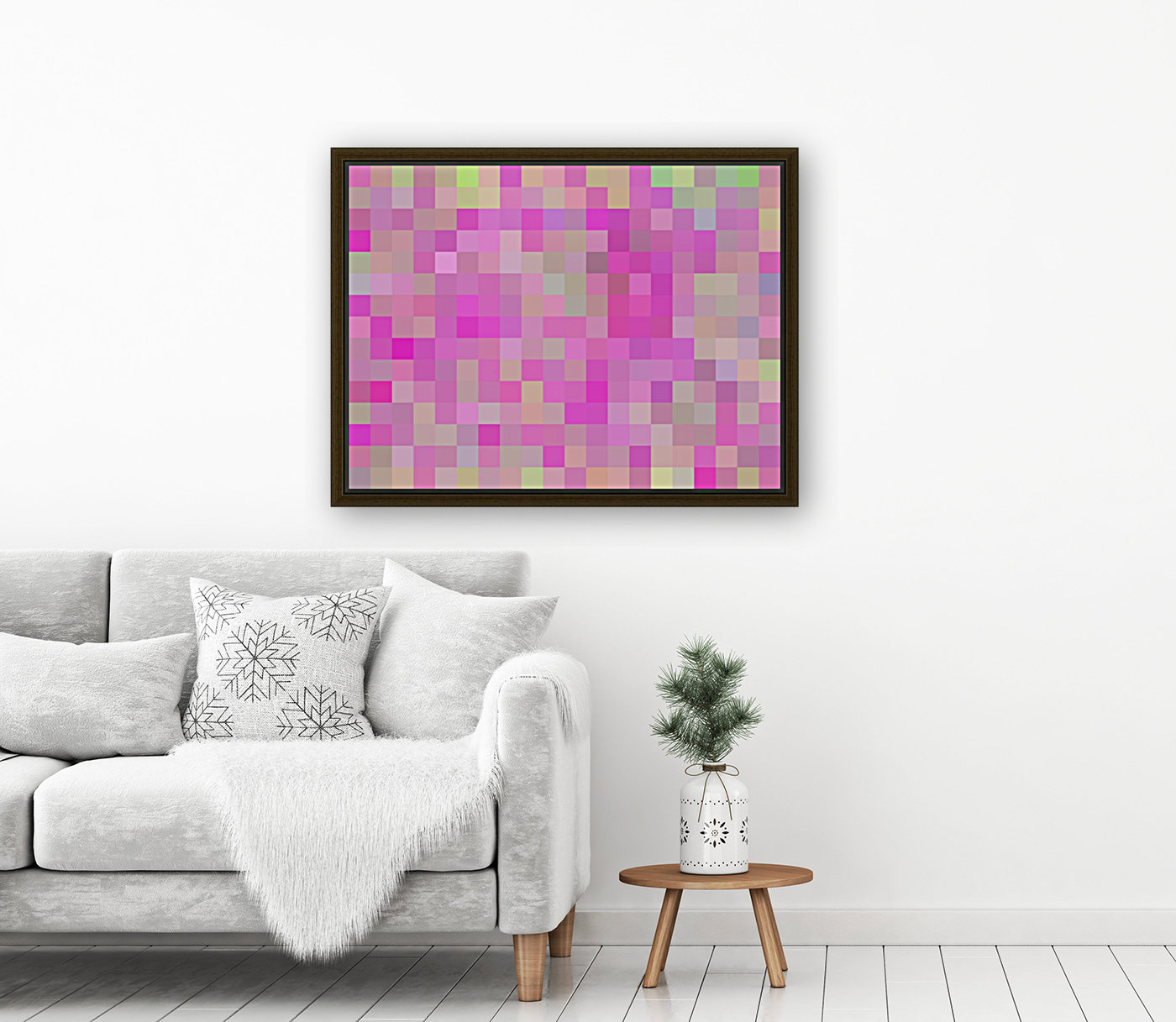 geometric square pixel pattern abstract background in pink blue green  Art