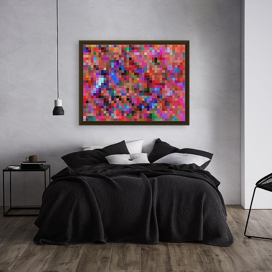 geometric square pixel pattern abstract background in pink blue orange purple  Art