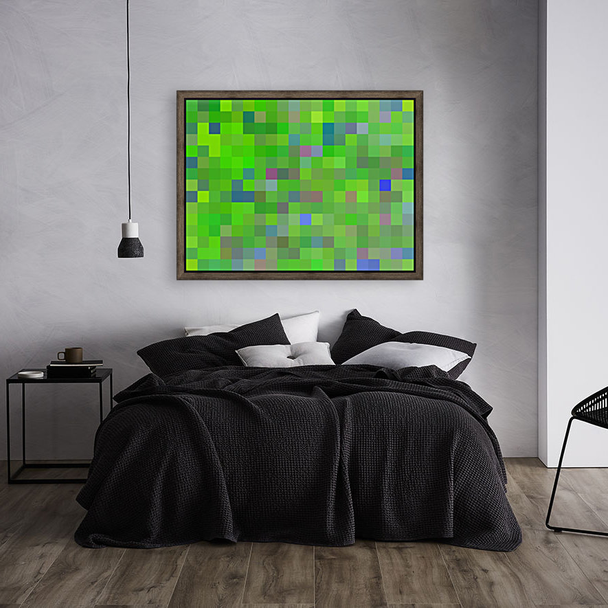 geometric square pixel pattern abstract background in green blue pink  Art