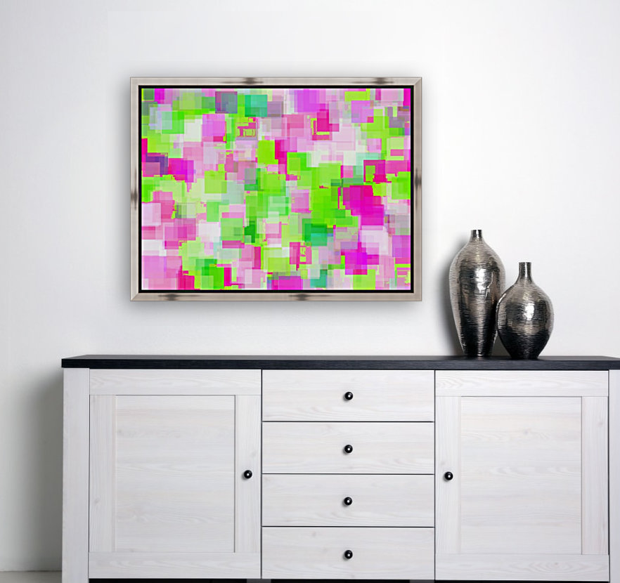geometric square pattern abstract background in pink and green  Art