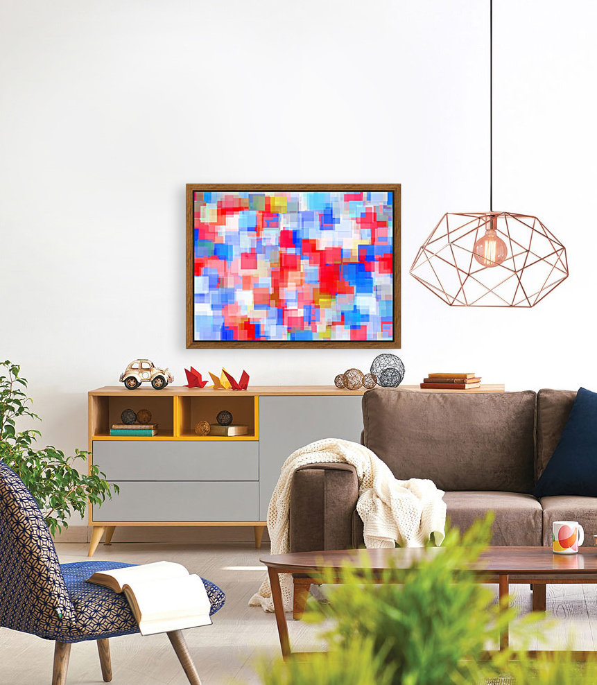 geometric square pattern abstract background in red and blue  Art