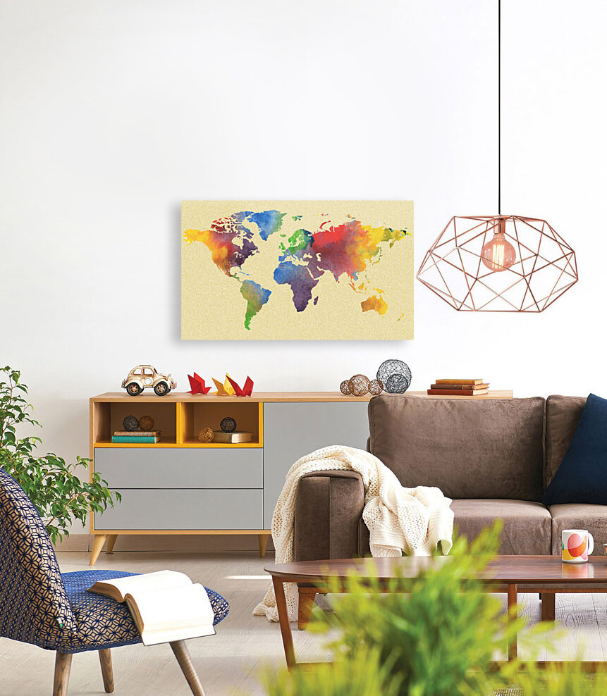 Hot And Vivid Watercolor Map Of The World  Art